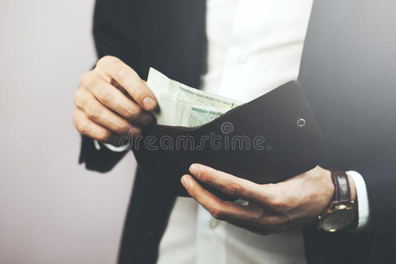 Man hand wallet royalty free stock photography