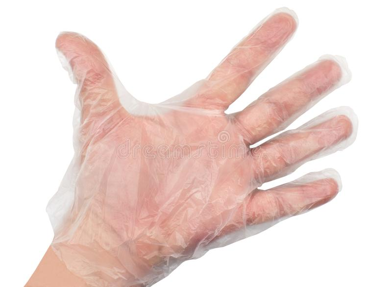 Man hand wearing disposable plastic glove royalty free stock photography