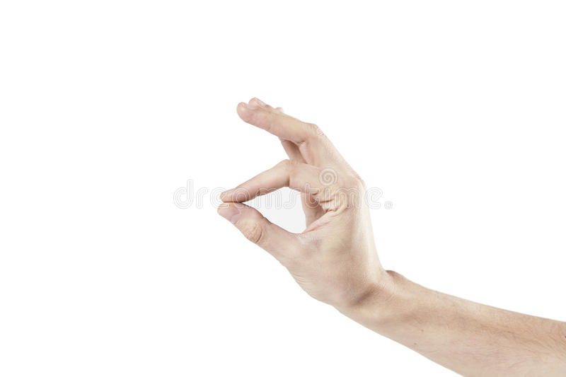 Man handen som isoleras på vit bakgrund som klämmer av fingrar arkivbilder