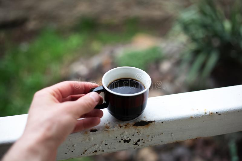 Man handing a cup of coffee in the garden royalty free stock photos