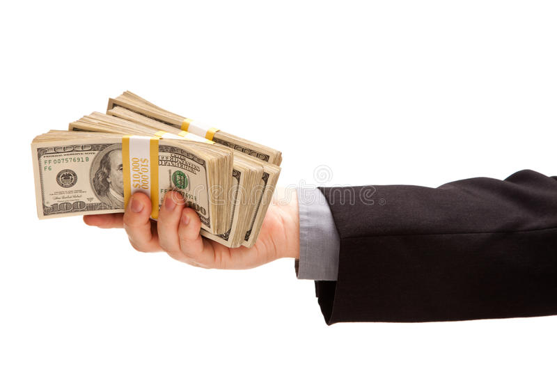 Download Man Handing Over Hundreds Of Dollars Stock Image - Image: 14403553