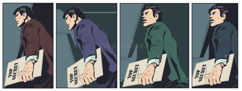 Man handling confidential documents. Stock illustration royalty free illustration