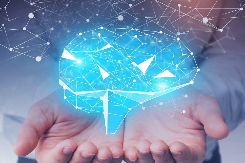 Man hands holding brain hologram stock photo