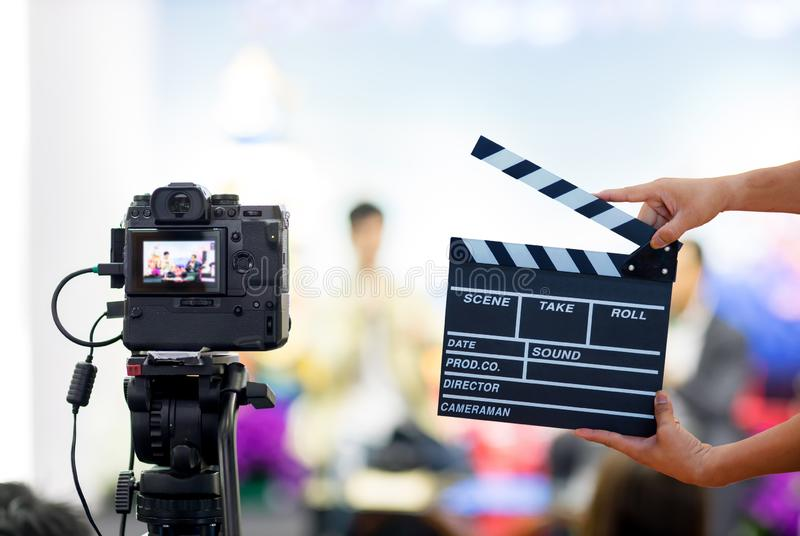 Man hands holding movie clapper.Film director concept.camera show viewfinder image catch motion in interview or broadcast wedding. Ceremony, catch feeling royalty free stock images