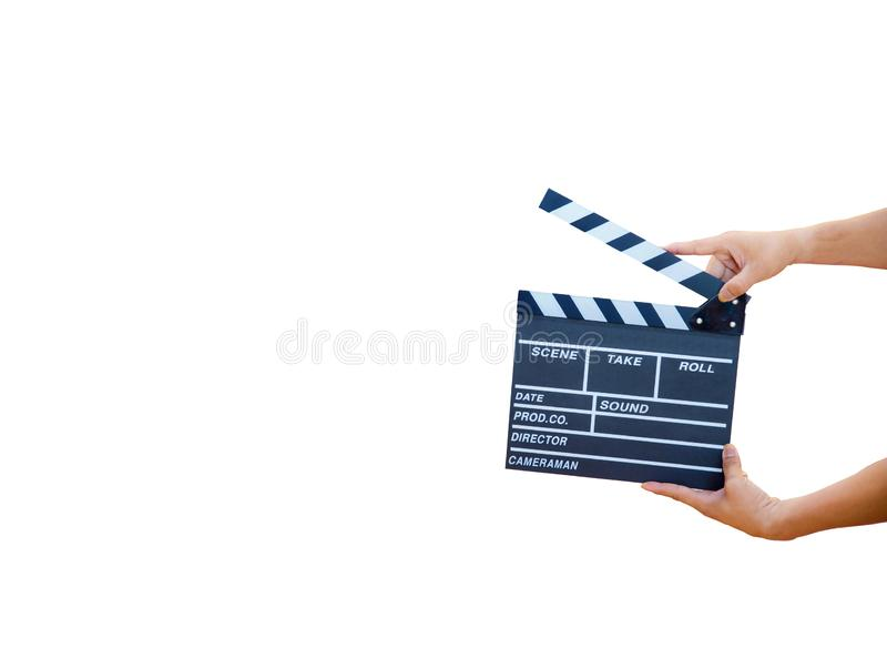 Man hands holding movie clapper isolated on white background. Shown slate board. use the colors white and black.Realistic movie clapperboard. Clapper board royalty free stock photos
