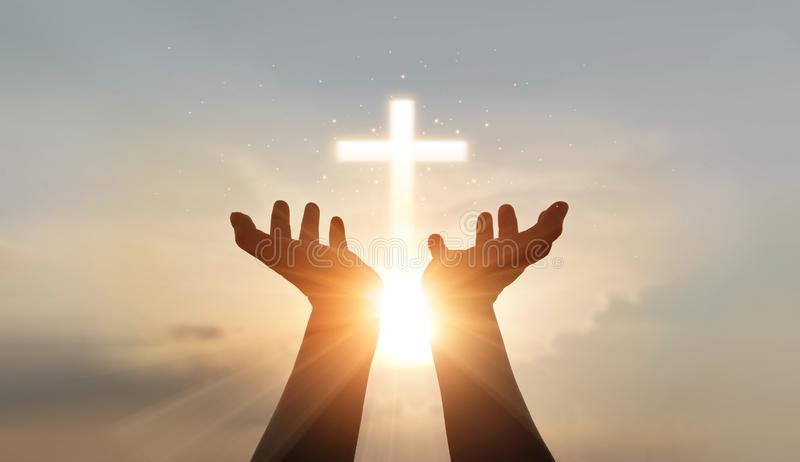 Man hands palm praying and worship of cross, eucharist therapy bless god helping, hope and faith, christian religion concept. Man hands palm raising up for royalty free stock photography