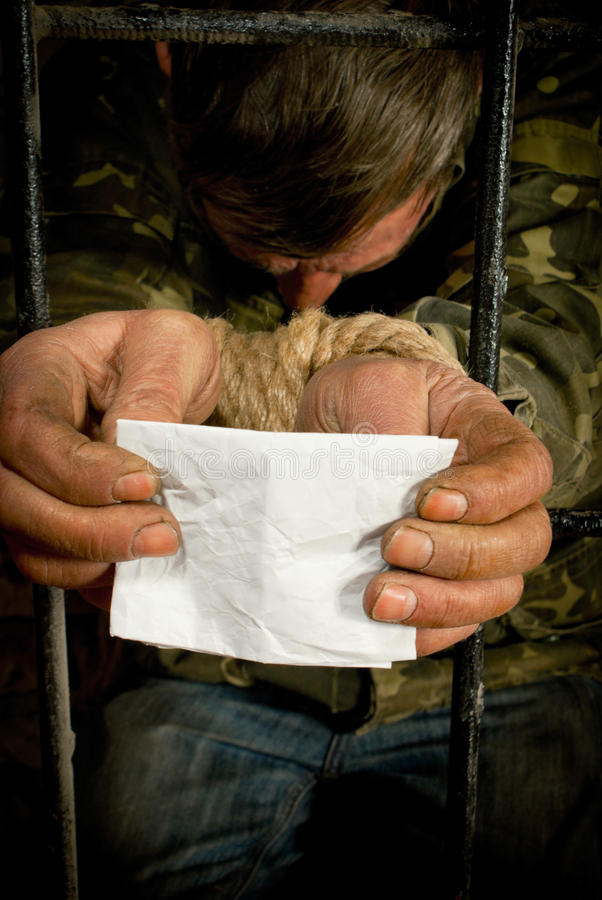 Download Man With Hands Tied Up With Rope Stock Photo - Image: 23445446