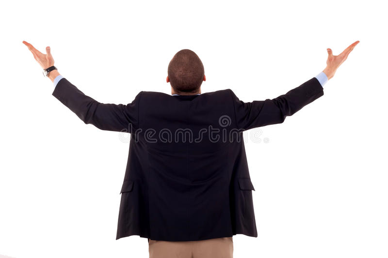 Man with hands up royalty free stock image