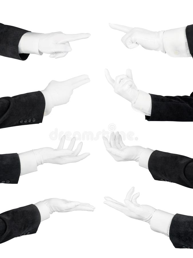 Man hands in white glove and black suit set isolated with clipping path royalty free stock photography
