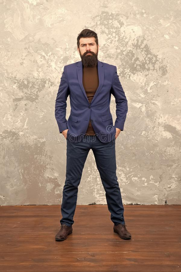 Man handsome bearded businessman wear luxury formal suit. Menswear and fashion concept. Guy brutal fashion model. Business people fashion style. Formal clothes royalty free stock image