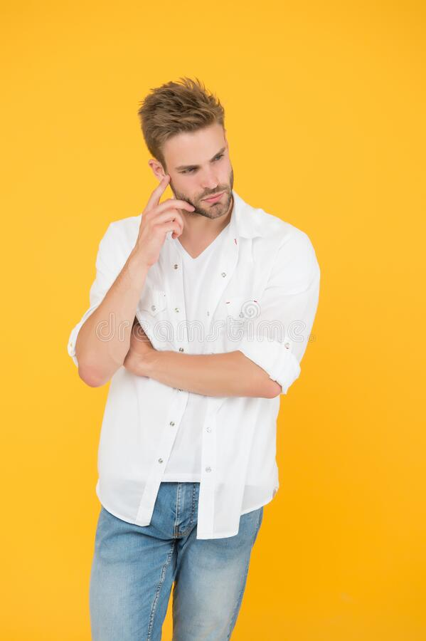 Man handsome in casual shirt. Wear casual outfit. Considered one of greatest references of style. Fashion concept. Man. Model clothes shop. Feeling comfortable royalty free stock images