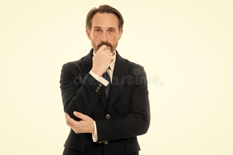 Man handsome mature fashion model wear fashionable suit on white background. Perfect suit for every type of guy. Bespoke. Suit flatters every wearer. Suit imbue stock image