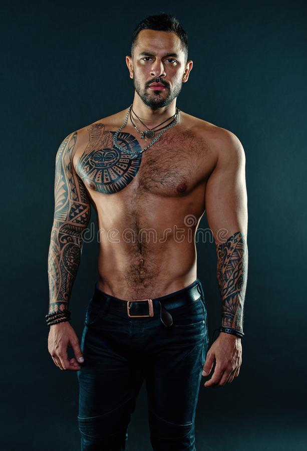 Free Man Handsome Shirtless Muscular With Jeans Over Dark Background. Muscular Tattooed Athlete Look Attractive. Sport And Royalty Free Stock Photo - 157056945