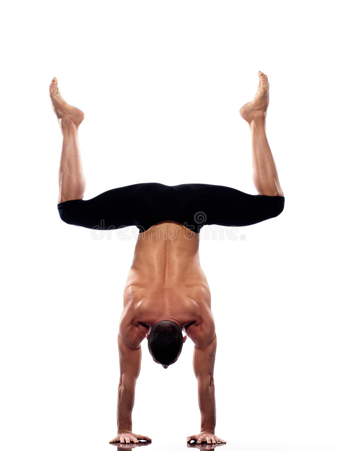 Man handstand full length gymnastic acrobatics stock photos