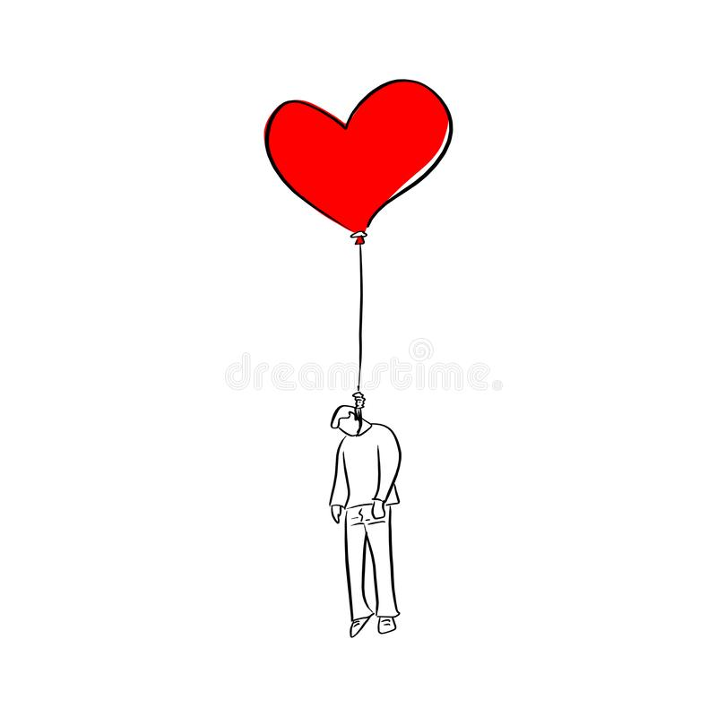 Man hanged on red heart shape balloon vector illustration sketch doodle hand drawn with black lines isolated on white background. Broken heart man vector illustration