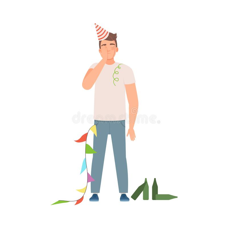 Man with Hangover with Ice Pack on Head - Royalty Free Clipart Picture