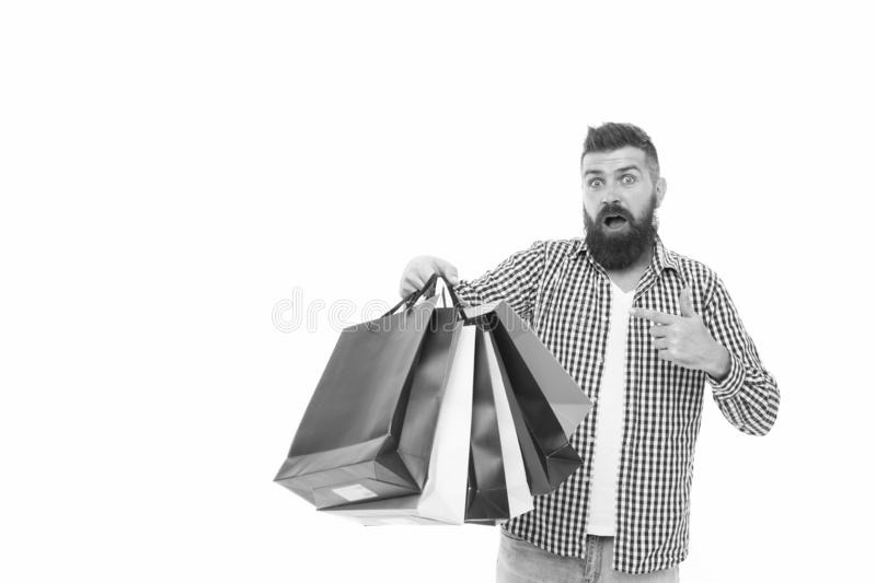 Man happy consumer hold shopping bags. Buy and sell. Consumer protection laws ensure rights. Fair trade competition and royalty free stock photos