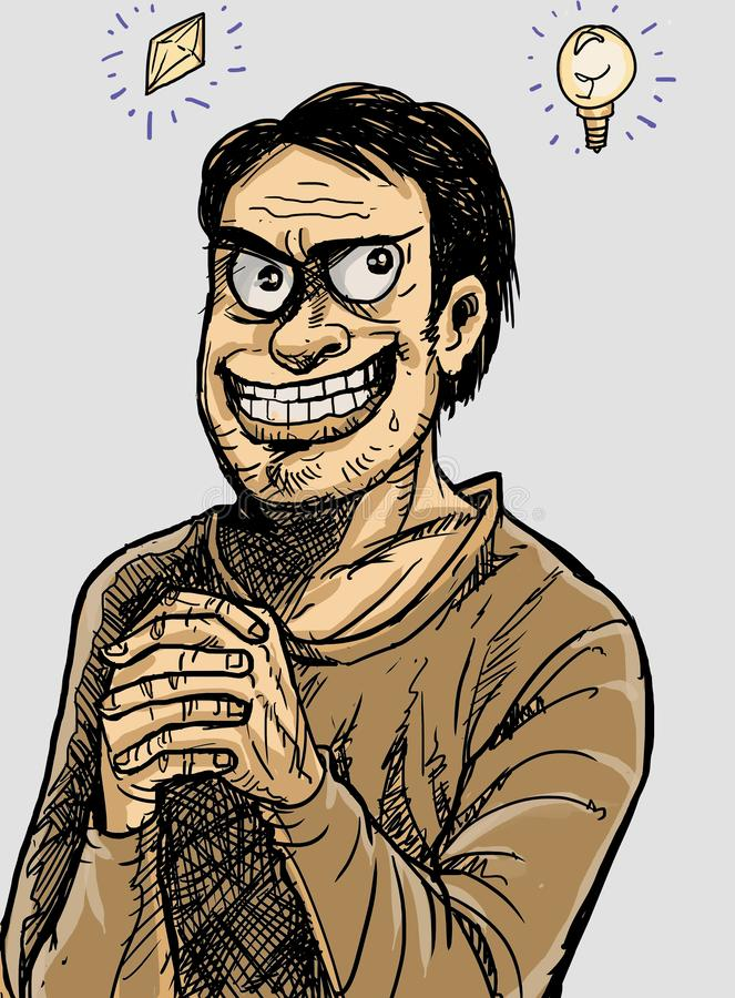 Man happy expression because he got an ideas royalty free illustration