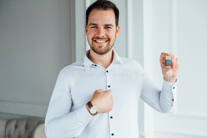 Man with happy facial expression royalty free stock images