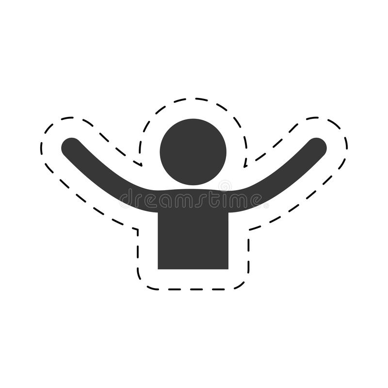 man happy hand open up joy figure pictogram royalty free illustration