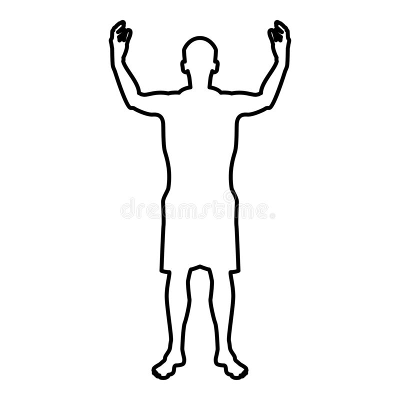 Man happy meet anyone silhouette Meeting joy concept front view icon black color illustration outline stock illustration