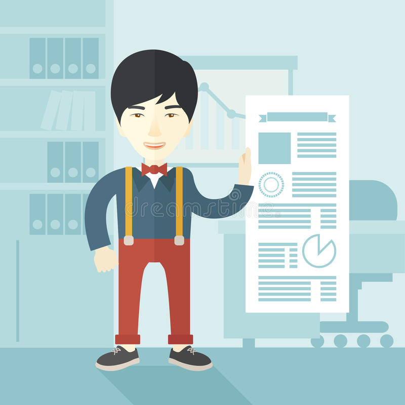 Man happy standing inside his office royalty free illustration