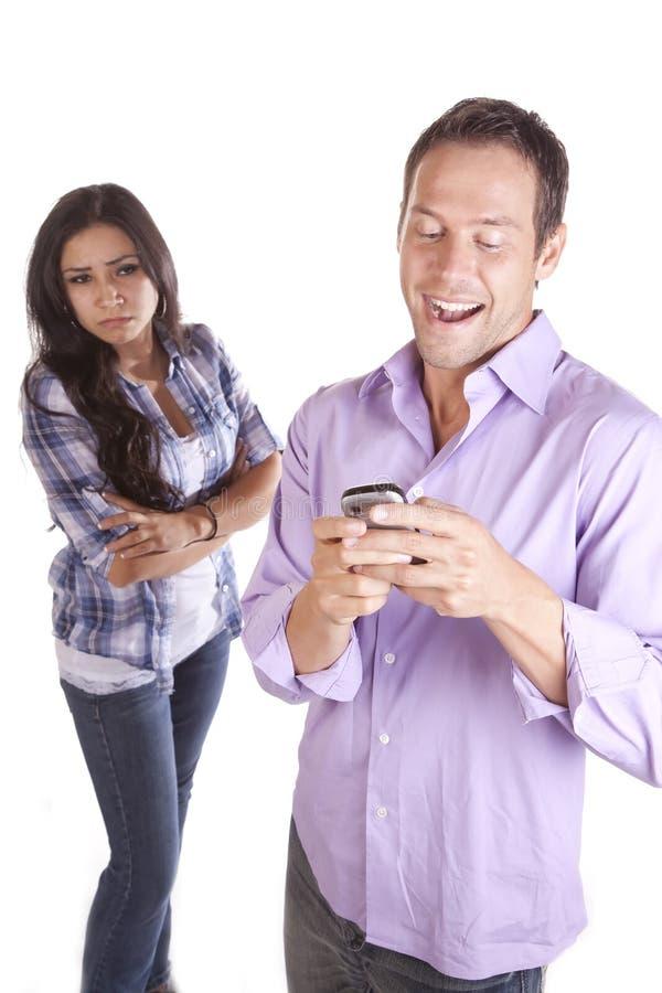 Man happy woman mad text