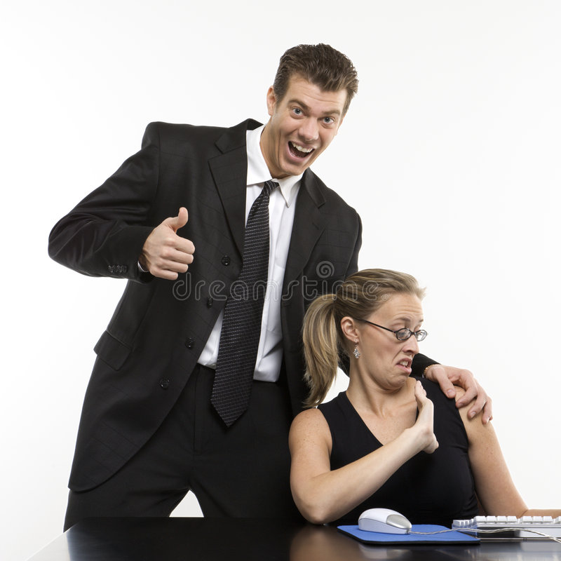 Man harassing woman stock photo