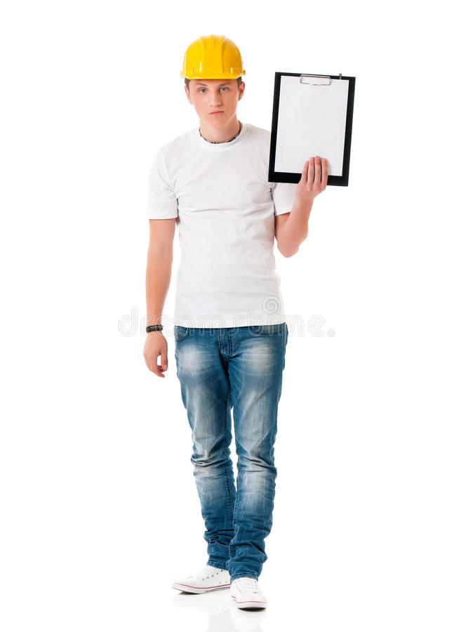 Man in hard hat with clipboard royalty free stock photo