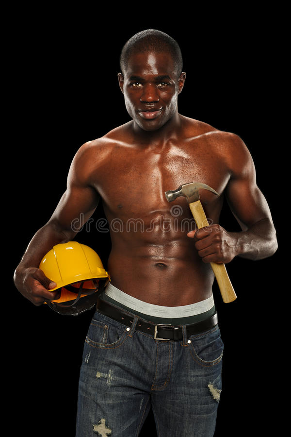 Man With Hard Hat And Hammer Royalty Free Stock Photo