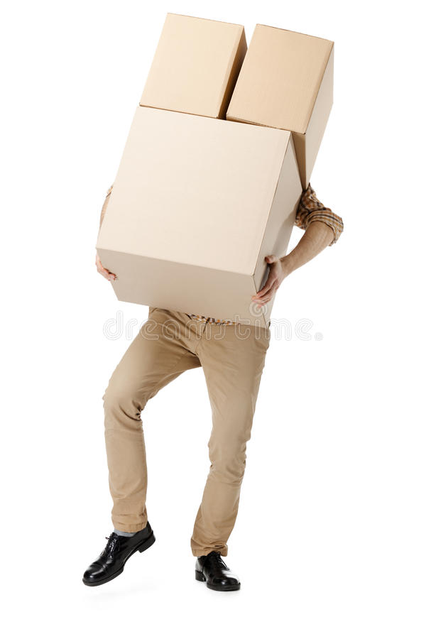 Download Man Hardly Carries The Box Royalty Free Stock Photography - Image: 26417247