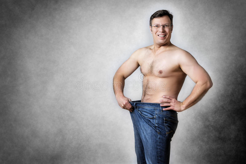 Man has lost body weight stock image