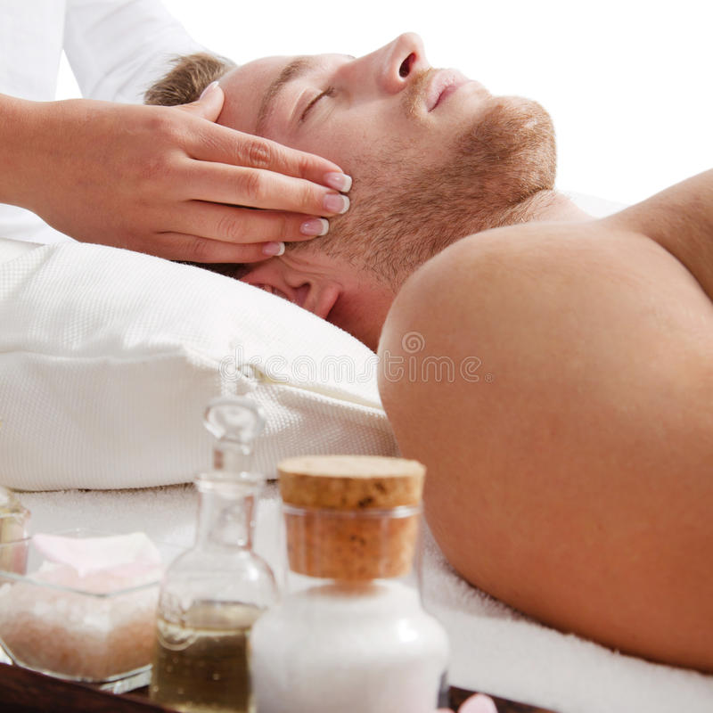 Man has relaxing massage in spa