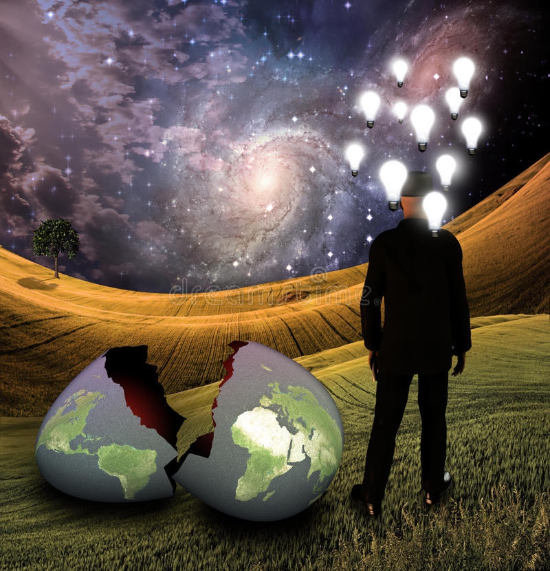 Man has thoughts of earth. S destruction, birth or transmutation vector illustration