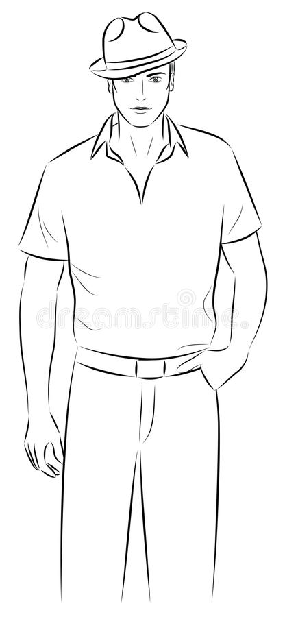 Man in a hat. Outline of a man in a hat vector illustration
