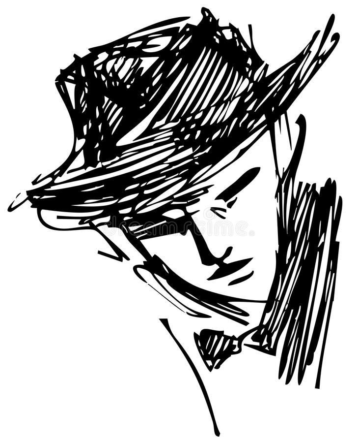 Download Man with hat stock vector. Image of contour, lines, light - 23935608