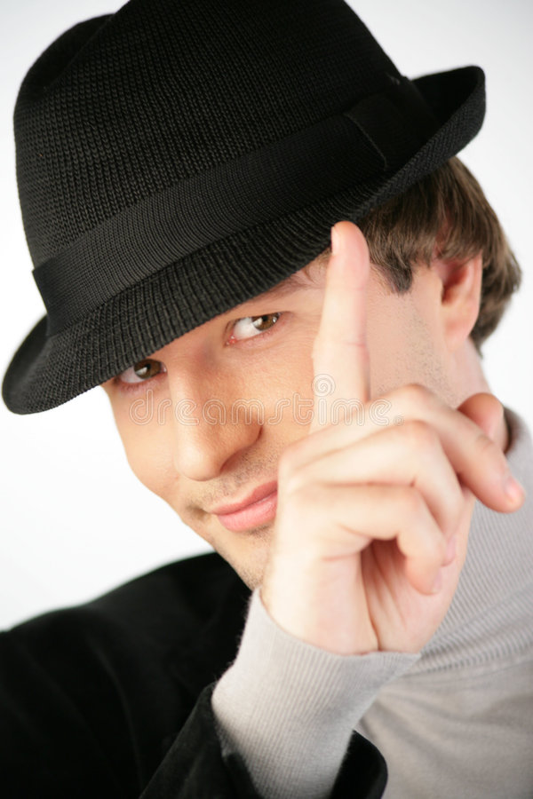 Download Man with hat stock photo. Image of jolly, nice, finger - 816682
