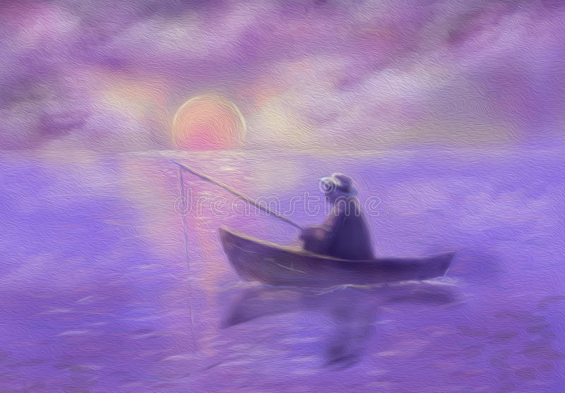 Man in hat catches fish at sunrise. Illustration. Illustration spring. man catches fish