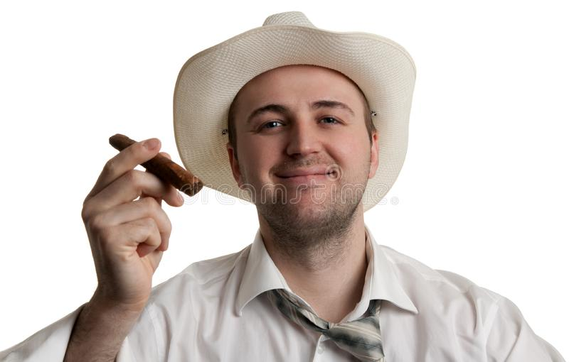 Man in a hat with a cigar
