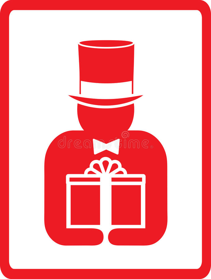 Download Man in hat with gift stock vector. Image of holiday, postage - 24042359