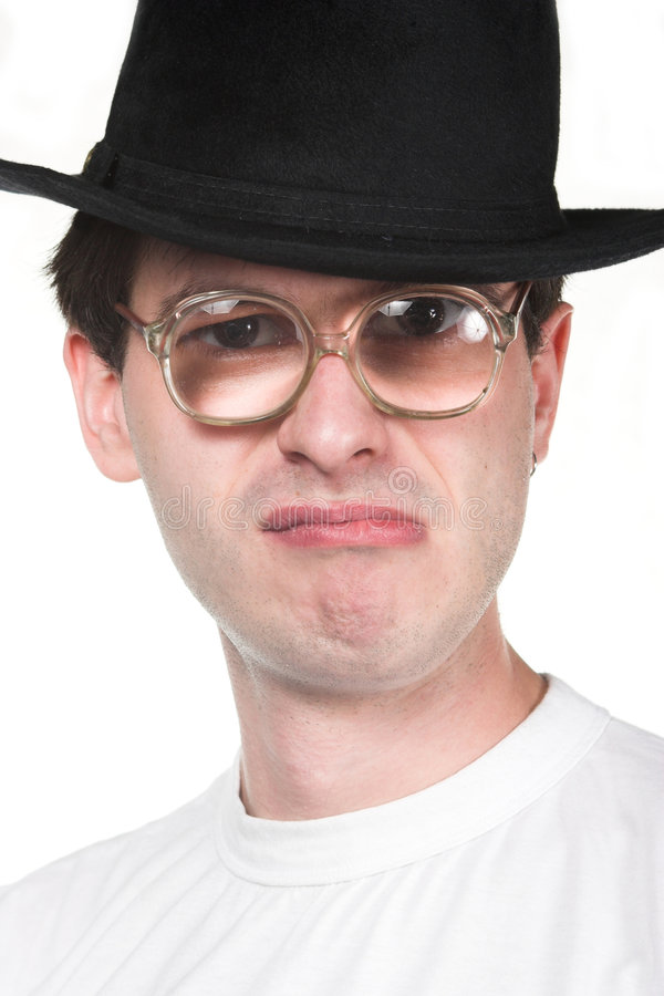 Man in hat and glasses. Crazy man in hat and glasses stock image
