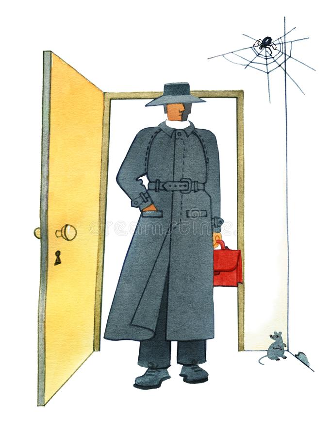 Auditor, Man in a hat and a gray mackintosh with a red briefcase in his hand is standing in the doorway. vector illustration