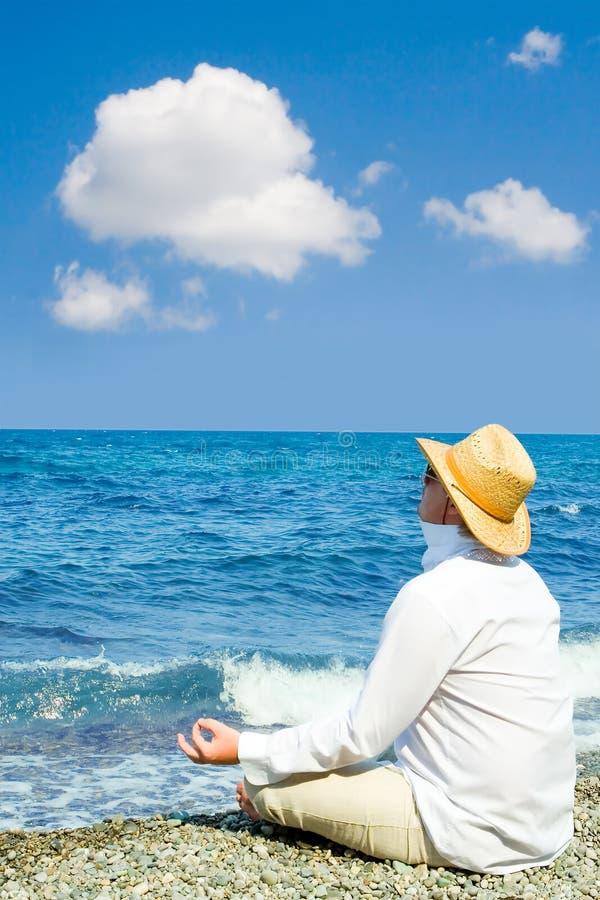 Download Man with hat meditation stock photo. Image of meditation - 7404508