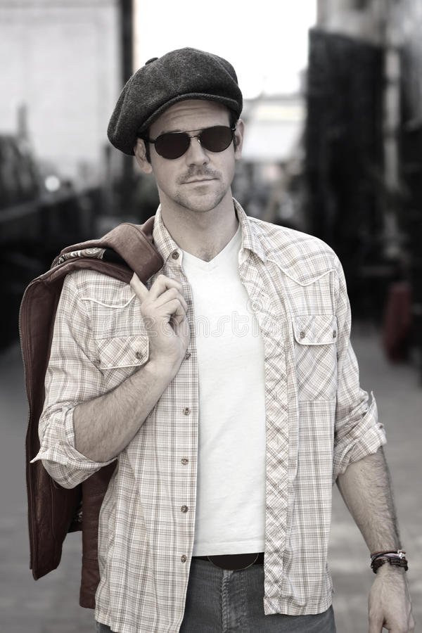 Download Man In Hat And Shades Outdoors Stock Image - Image: 23143623