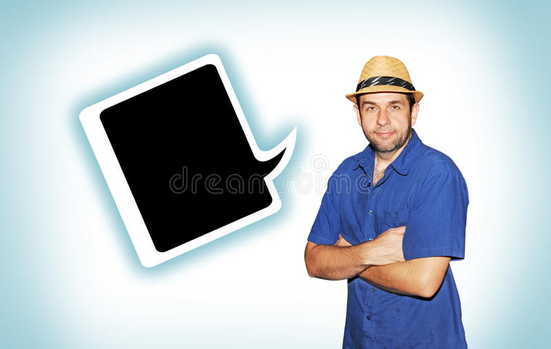 Man with hat and speech bubble royalty free stock images