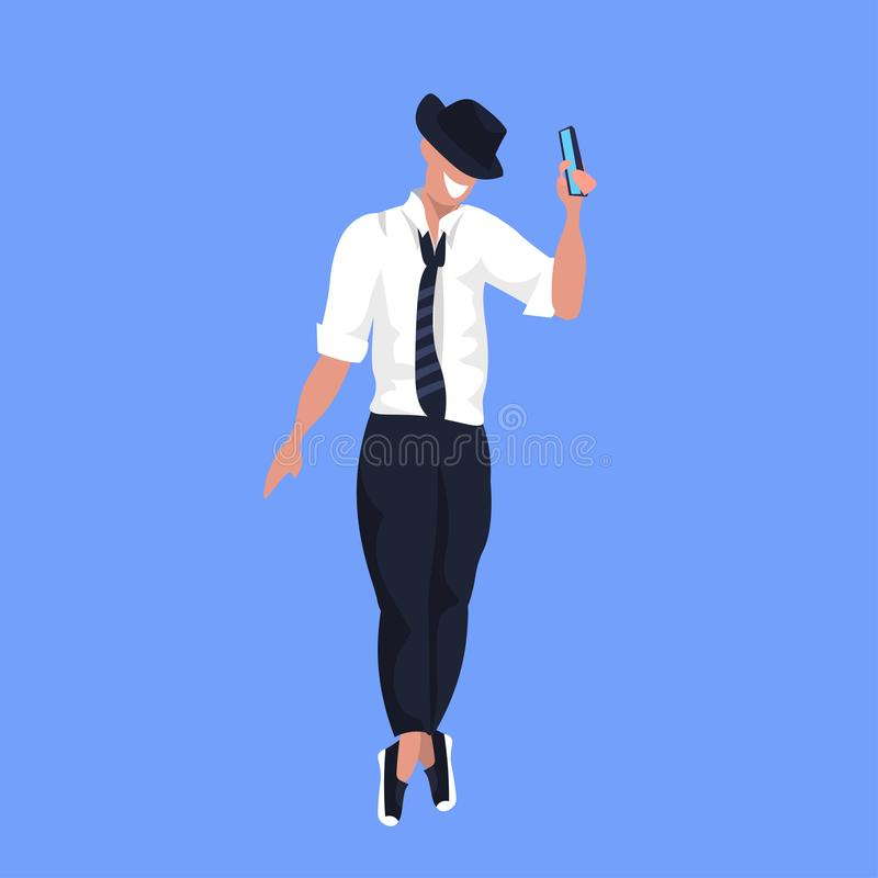 Man in hat taking selfie photo on smartphone camera casual male cartoon character posing blue background flat full. Length vector illustration vector illustration