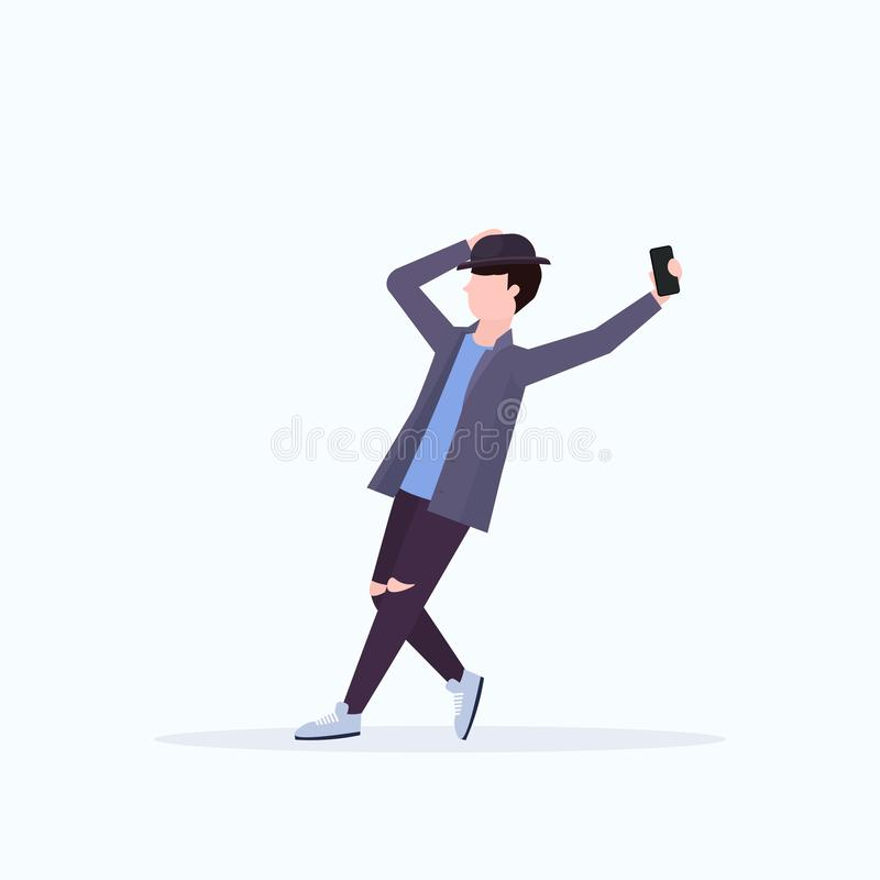 Man in hat taking selfie photo on smartphone camera casual male cartoon character posing white background flat full. Length vector illustration stock illustration