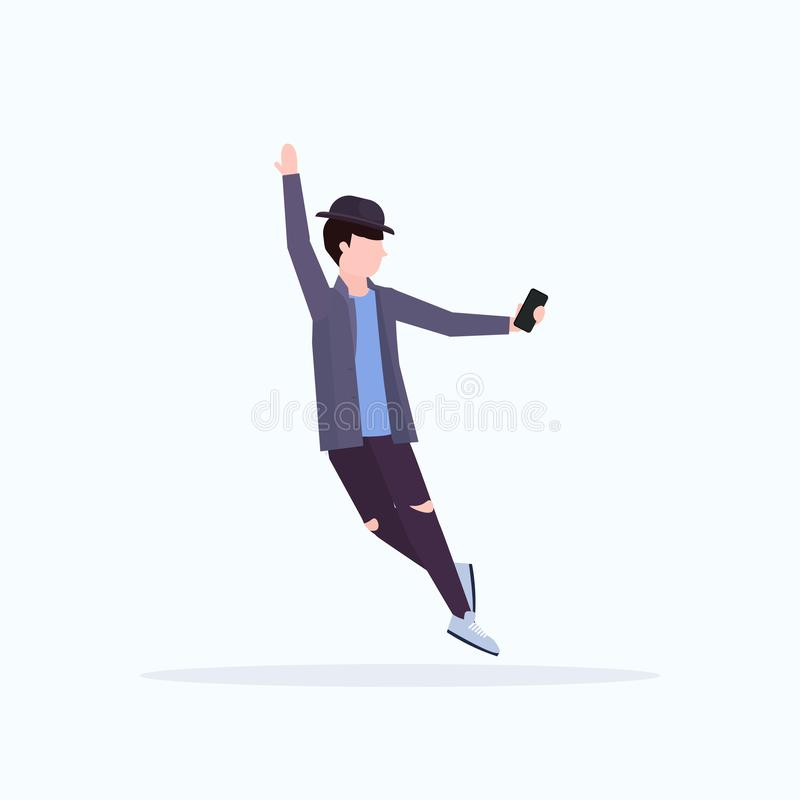 Man in hat taking selfie photo on smartphone camera casual male cartoon character posing white background flat full. Length vector illustration royalty free illustration