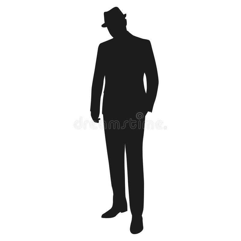Man in hat, vector silhouette stock illustration