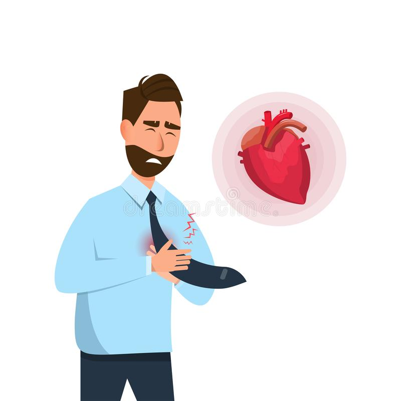 Man have early symptoms of heart attack royalty free illustration